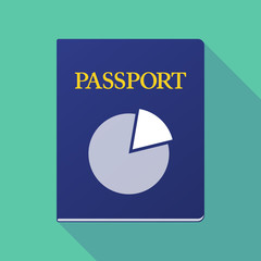 Long shadow passport with a pie chart