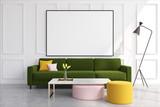 White living room, green sofa