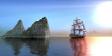 Pirate ship near a rocks formation Island on a beautiful morning day, 3d rendering - 159060930
