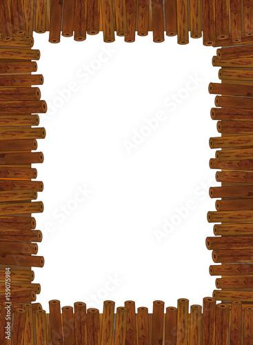 cartoon wooden frame - illustration for children - 159075984