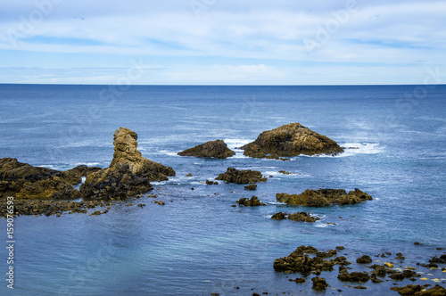 Idyllic beach in Asturias on a day in spring in Spain Poster