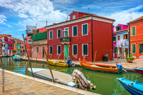 Colorful village of Burano in Venice Poster