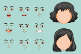 Faceless woman with different expressions set - 159078570
