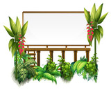 Board template with green plants