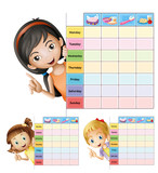 Timetable template with happy girls