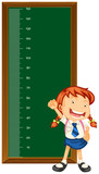 Height measurement chart with little girl