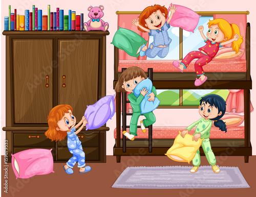 Staande foto Kids Girls having slumber party in bedroom