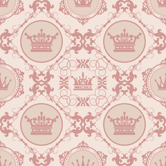 Seamless Damask Wallpaper. Retro pattern seamless brown colors. Classic design pattern seamless. Background vector.