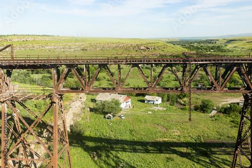 Old metal bridge with a railway