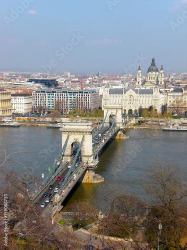 Chain Bridge crossing Danube River, Budapest