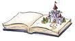 Leinwanddruck Bild libro con castillo infantil