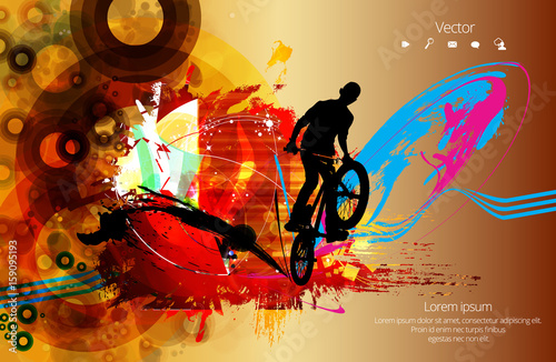 Silhouette of bicycle jumper - 159095193
