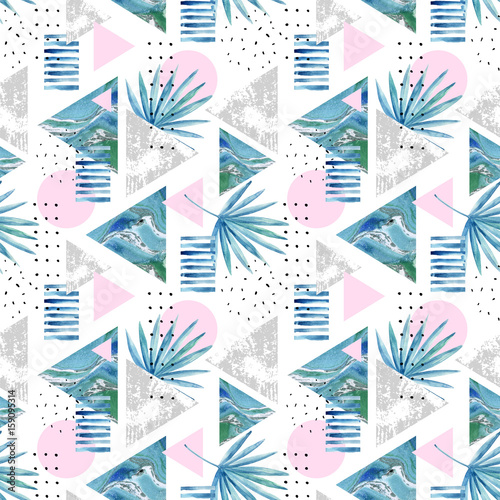 Fototapeta Abstract summer geometric background with exotic leaves