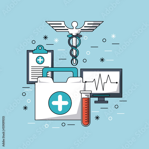 color background with medical symbol and icons medicine vector illustration