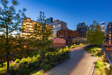 The Highline (High Line Park aerial greenway) at twilight in summer. Chelsea, Manhattan, New York City - 159101786