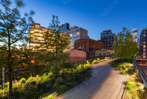 The Highline (High Line Park aerial greenway) at twilight in summer Poster