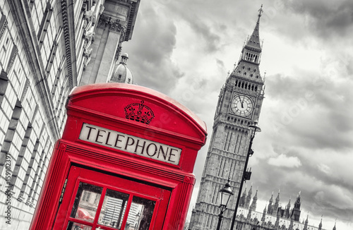 5 min before 12 o`clock in London at the Big ben with red telephone box