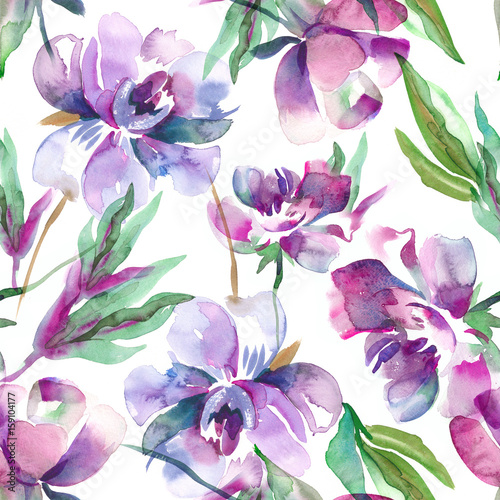 Peonies Seamless Pattern. Watercolor Background. - 159104177