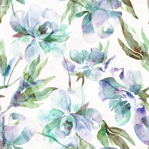 Peonies Seamless Pattern. Watercolor Background. - 159104341