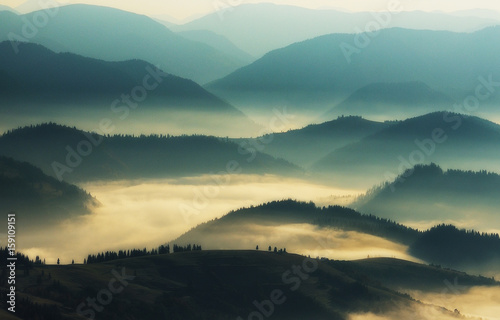 Silhouettes of mountains. A misty autumn morning. Dawn in the Carpathians © sergnester