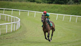 Lone race horse and jockey running on the race track - 159110317