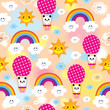 cute baby panda bear character rainbows clouds sky kids seamless pattern