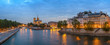 Paris city skyline panorama at Notre Dame de Paris Cathedral and Seine River when sunset, Paris, France