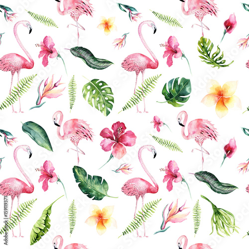 Tropical isolated seamless pattern with flamingo. Watercolor tropic drawing, rose bird and greenery palm tree, tropic green texture, exotic flower. Aloha set - 159119371