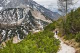 Tourist on the path on the pass Vrsic, Julian Alps, Slovenia