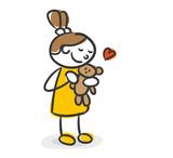 Strichfiguren Kinder Mädchen Teddybär