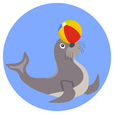 Seal plays with the ball icon