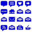 internet icons set - website blue buttons vector - message icon on white background