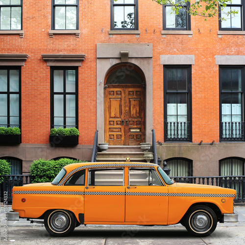 Taxi, retro car yellow color on the New York street