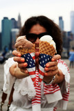 Young woman with American ice cream in hands - 159124716