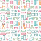 Furniture themed vector seamless outline pattern background 6 - 159127309