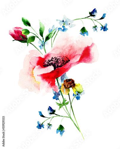 Obraz na Plexi Stylized spring flowers
