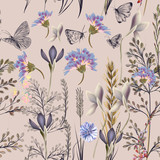 Flower vector pattern with plants. Vintage provance style - 159138918