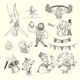 Doodle Set of Circus people isolated on white, Black contour for coloring - 159139964