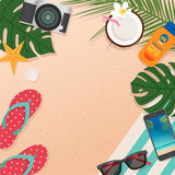 Top view of summer holidays illustration with copy space
