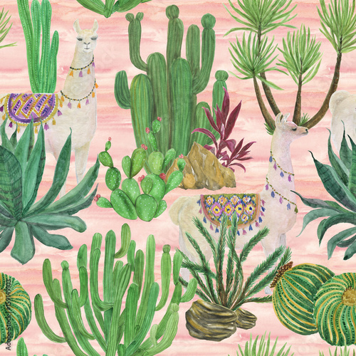 Watercolor painting seamless pattern with llamas and cacti - 159149103