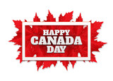 Happy Canada Day poster. 1st july. Vector illustration greeting card. Canada Maple leaves on white background - 159152133