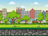 Seamless cartoon cityscape background. Vector illustration with separate layers.