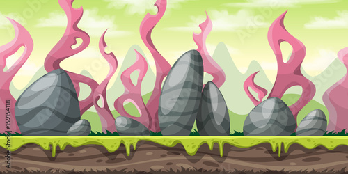 Foto op Canvas Cappuccino Seamless cartoon nature background. Vector illustration with separate layers.