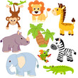 Jungle animals. Lion, elephant, giraffe, monkey, parrot, crocodile, zebra and rhinoceros