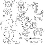 Jungle animals. Lion, elephant, giraffe, monkey, parrot, crocodile, zebra and rhinoceros. Black and white vector illustration for coloring book  - 159154986