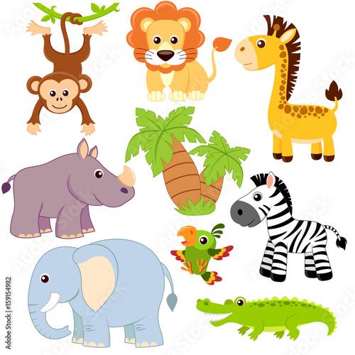 Fototapeta Jungle animals. Lion, elephant, giraffe, monkey, parrot, crocodile, zebra and rhinoceros