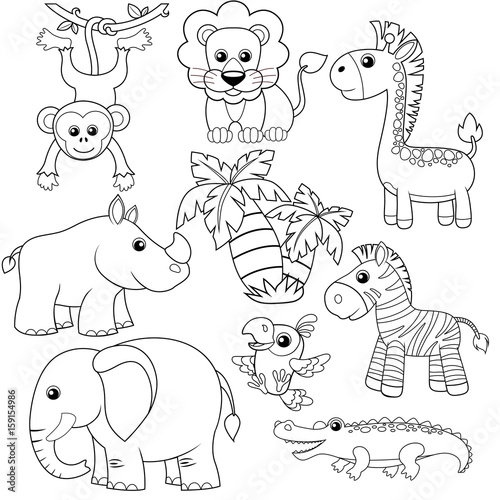 Fototapeta Jungle animals. Lion, elephant, giraffe, monkey, parrot, crocodile, zebra and rhinoceros. Black and white vector illustration for coloring book