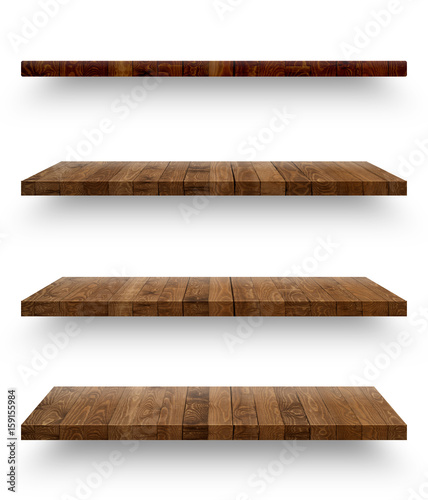 Wooden shelf isolated on white background with clipping path - 159155984