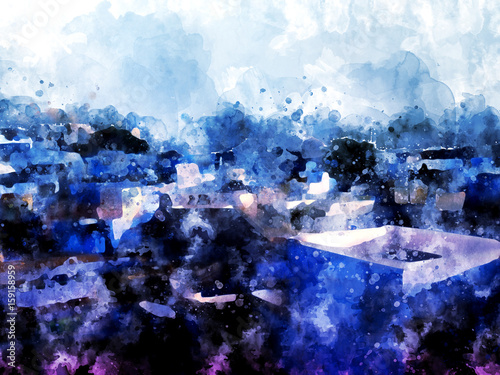 Blue cityscape watercolor painting on white background - 159158959