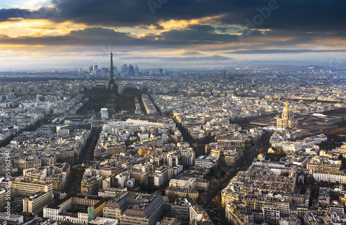 paris city in France by sunset Poster